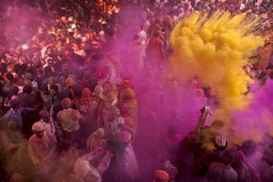 Indian Hindus worshippers are covered in powder